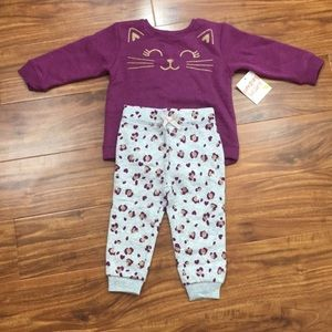 NWT Girl Jumping Beans Cat Sweater Jogger Size 18M